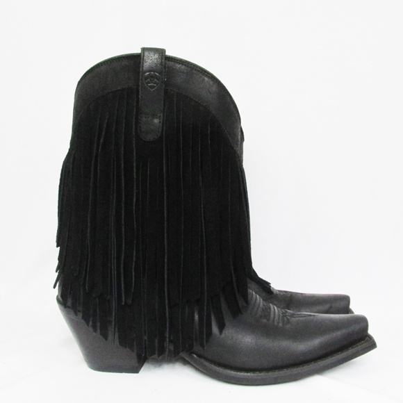 2f91cf84865 Ariat | Black Leather Suede Fringe Gold Rush Boots
